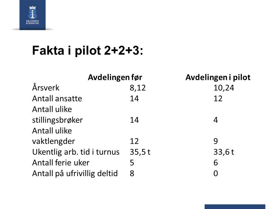 Fakta i pilot 2+2+3: Avdelingen før Avdelingen i pilot