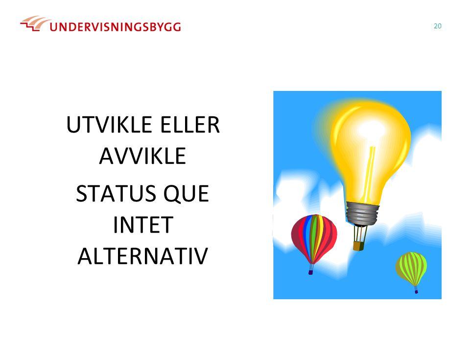 UTVIKLE ELLER AVVIKLE STATUS QUE INTET ALTERNATIV