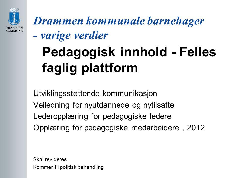 Drammen kommunale barnehager - varige verdier
