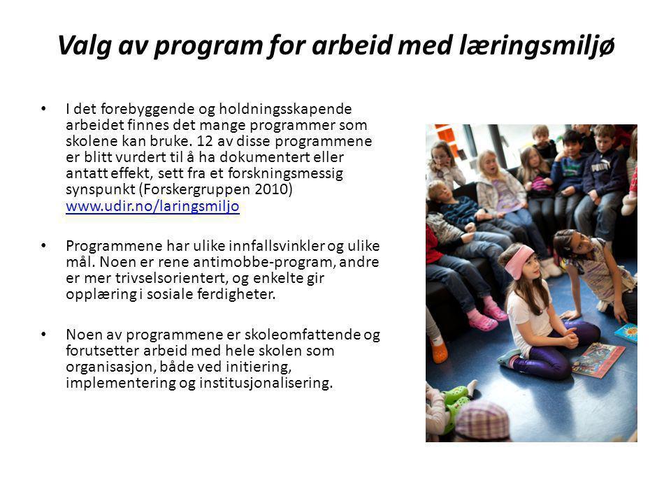 Valg av program for arbeid med læringsmiljø