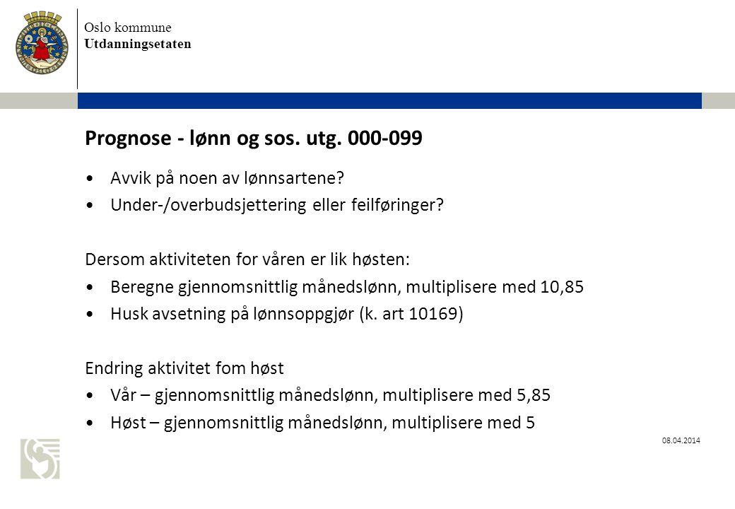 Prognose - lønn og sos. utg. 000-099