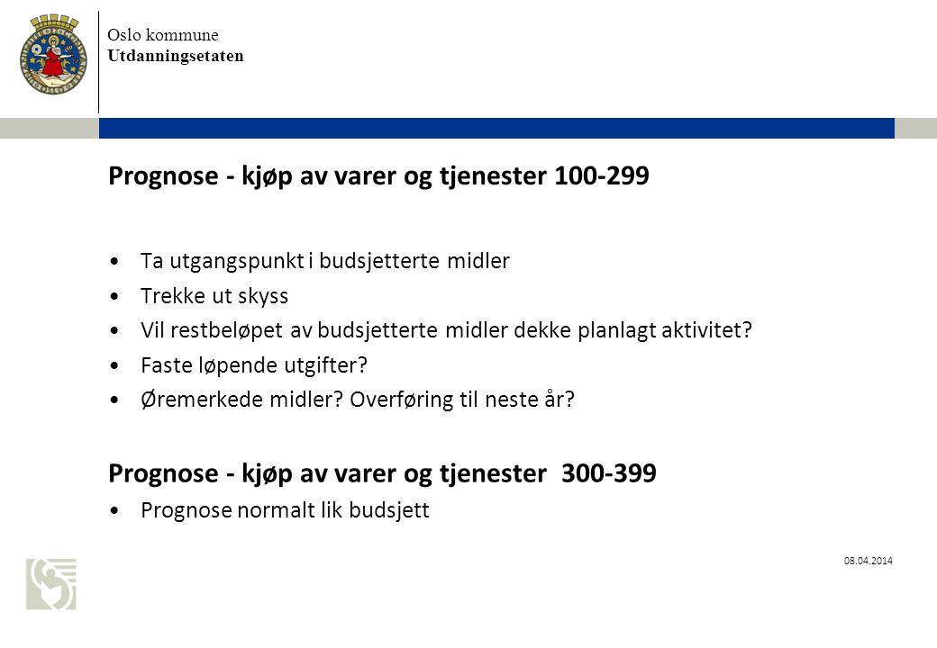 Prognose - kjøp av varer og tjenester 100-299