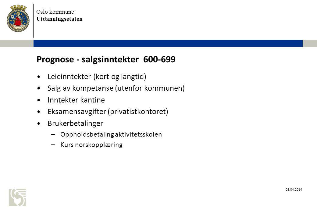 Prognose - salgsinntekter 600-699