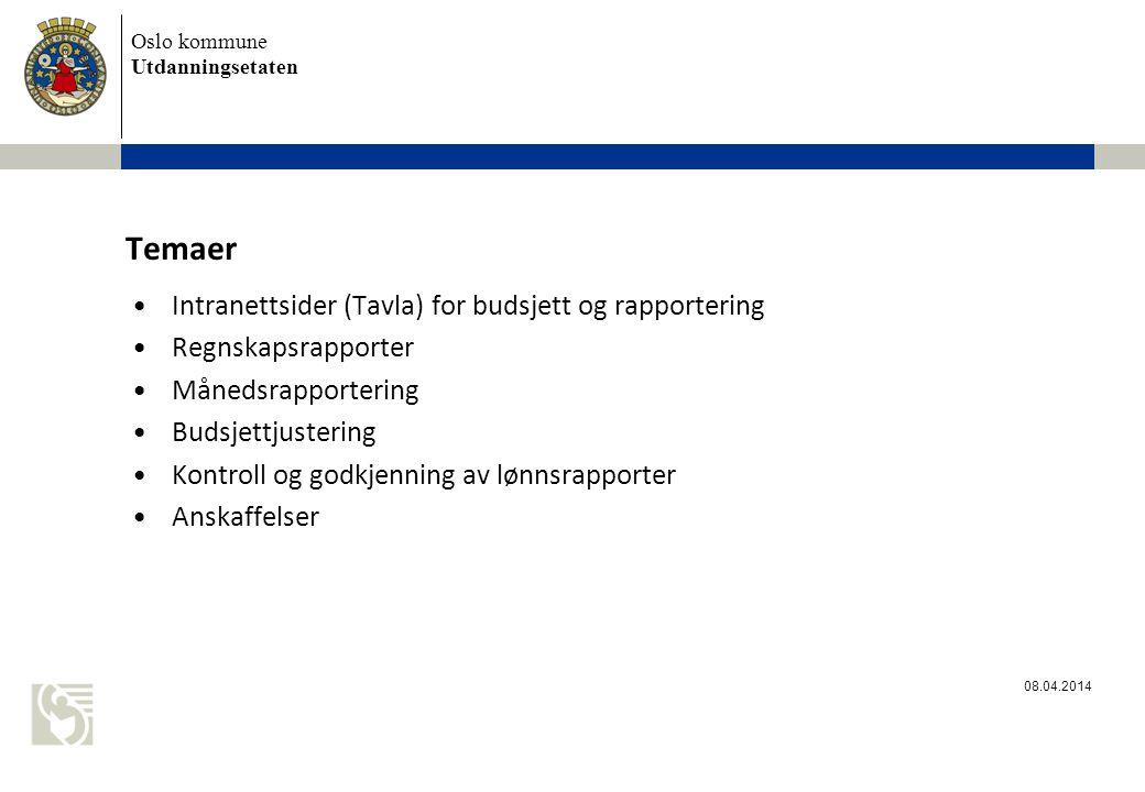 Temaer Intranettsider (Tavla) for budsjett og rapportering
