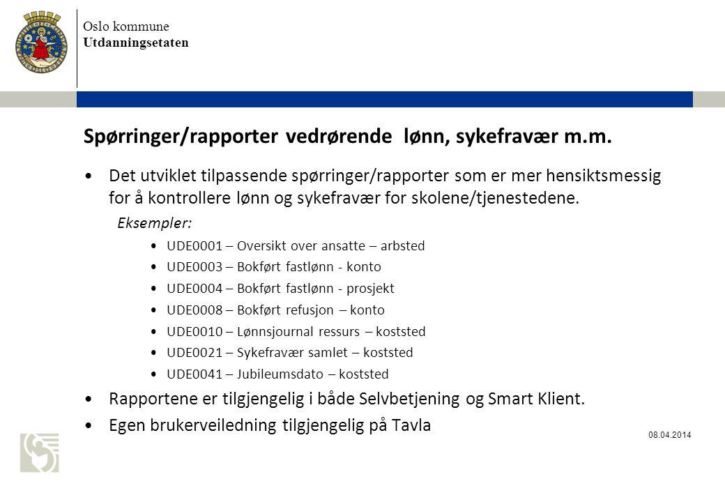 Spørringer/rapporter vedrørende lønn, sykefravær m.m.