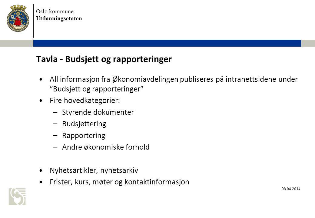 Tavla - Budsjett og rapporteringer