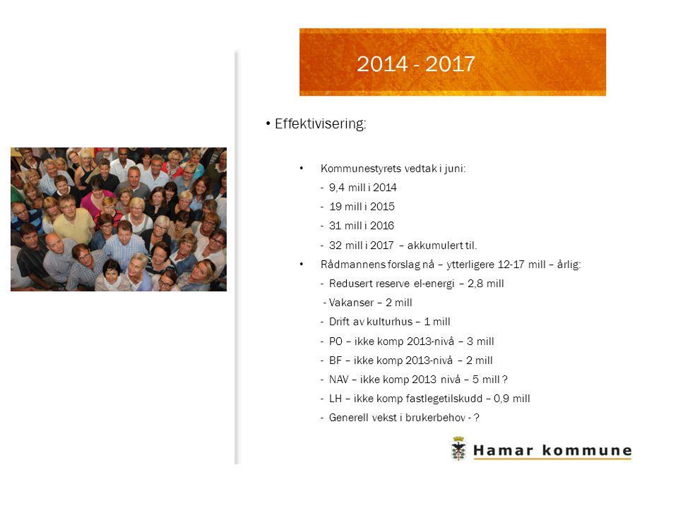 2014 - 2017 Effektivisering: Kommunestyrets vedtak i juni: