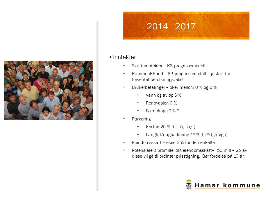 2014 - 2017 Inntekter: Skatteinntekter – KS prognosemodell