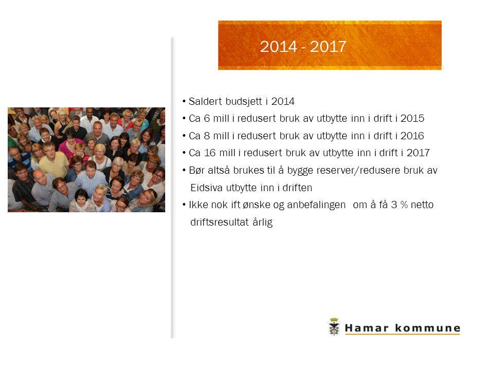 2014 - 2017 Saldert budsjett i 2014. Ca 6 mill i redusert bruk av utbytte inn i drift i 2015.