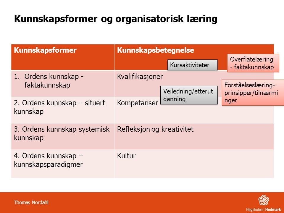 Kunnskapsformer og organisatorisk læring