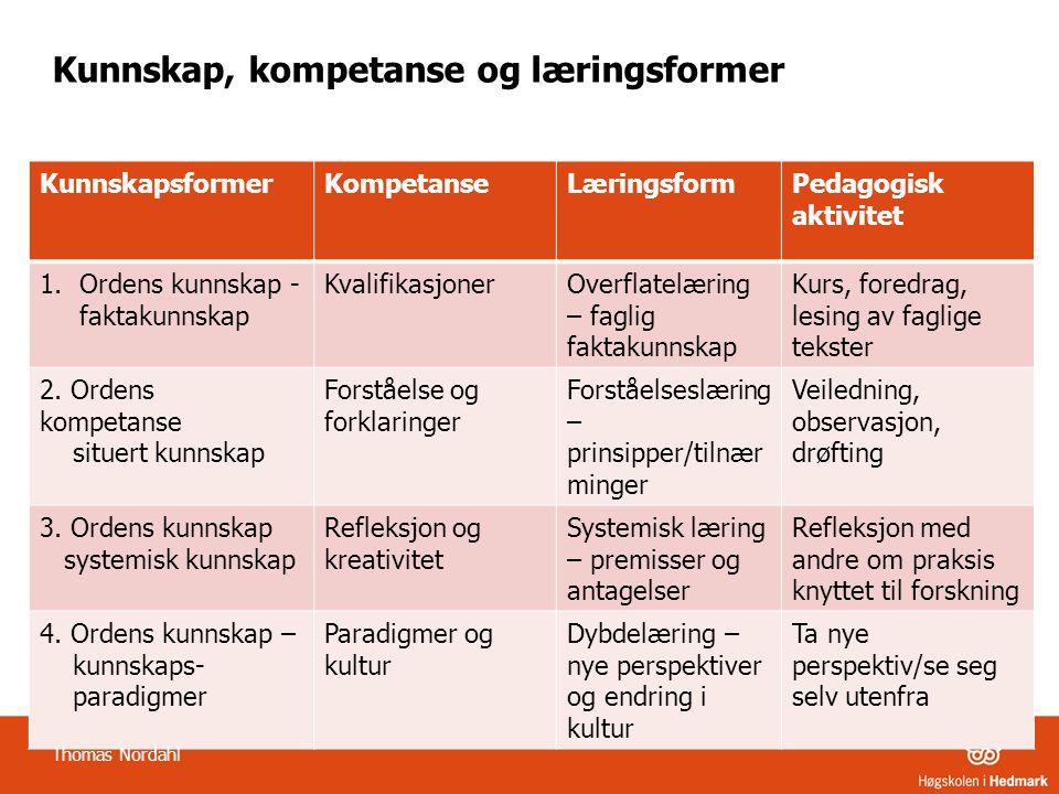 Kunnskap, kompetanse og læringsformer