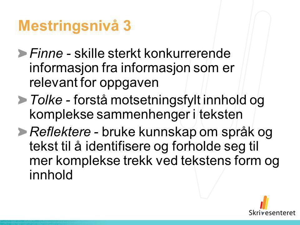 Mestringsnivå 3 Finne - skille sterkt konkurrerende informasjon fra informasjon som er relevant for oppgaven.