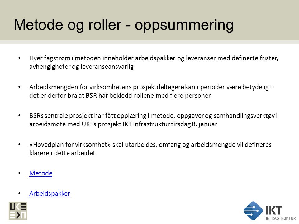Metode og roller - oppsummering