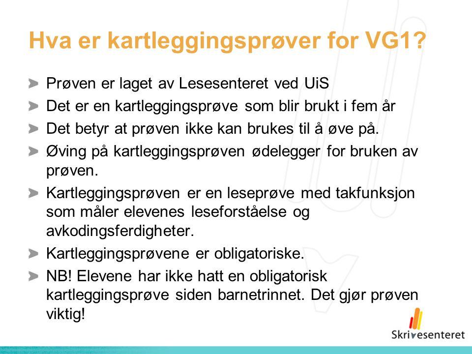 Hva er kartleggingsprøver for VG1