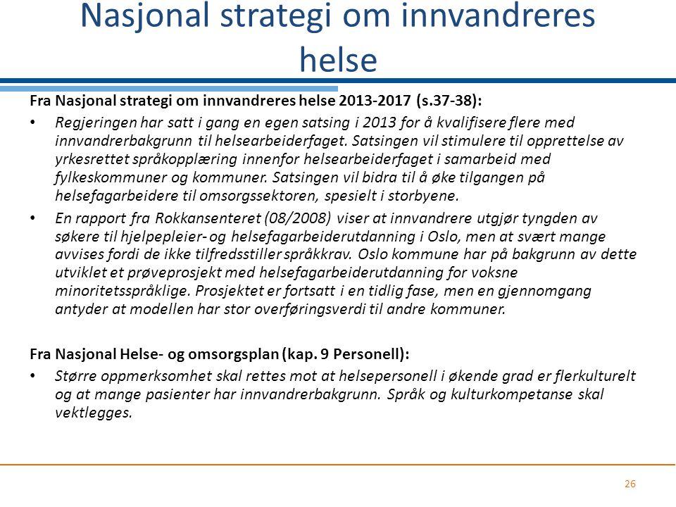 Nasjonal strategi om innvandreres helse