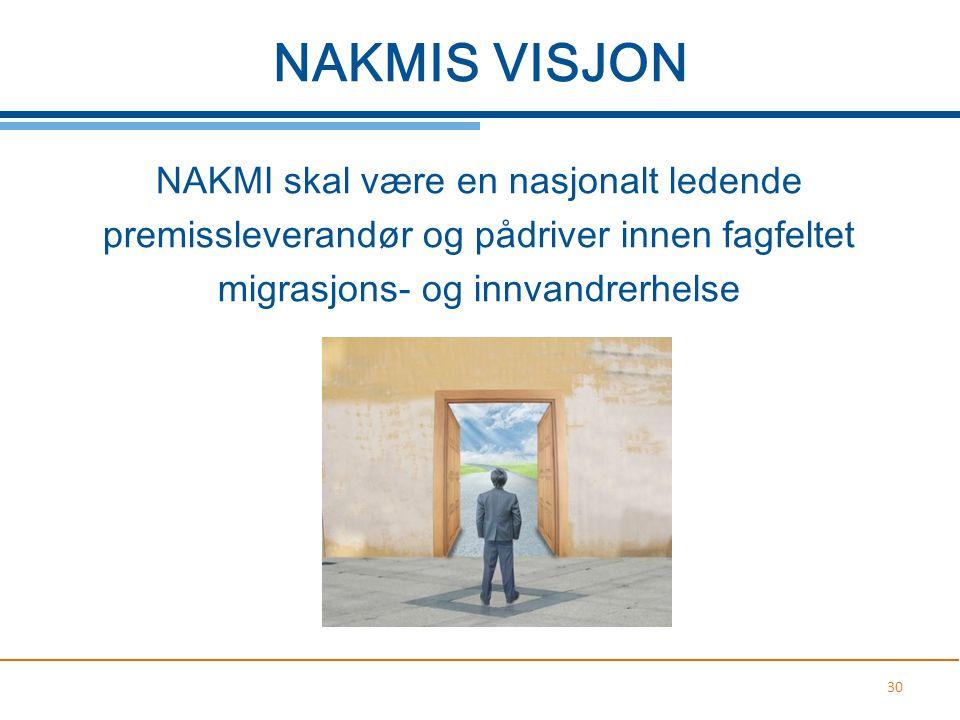 NAKMIS VISJON NAKMI skal være en nasjonalt ledende premissleverandør og pådriver innen fagfeltet migrasjons- og innvandrerhelse.