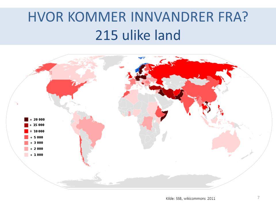 HVOR KOMMER INNVANDRER FRA 215 ulike land