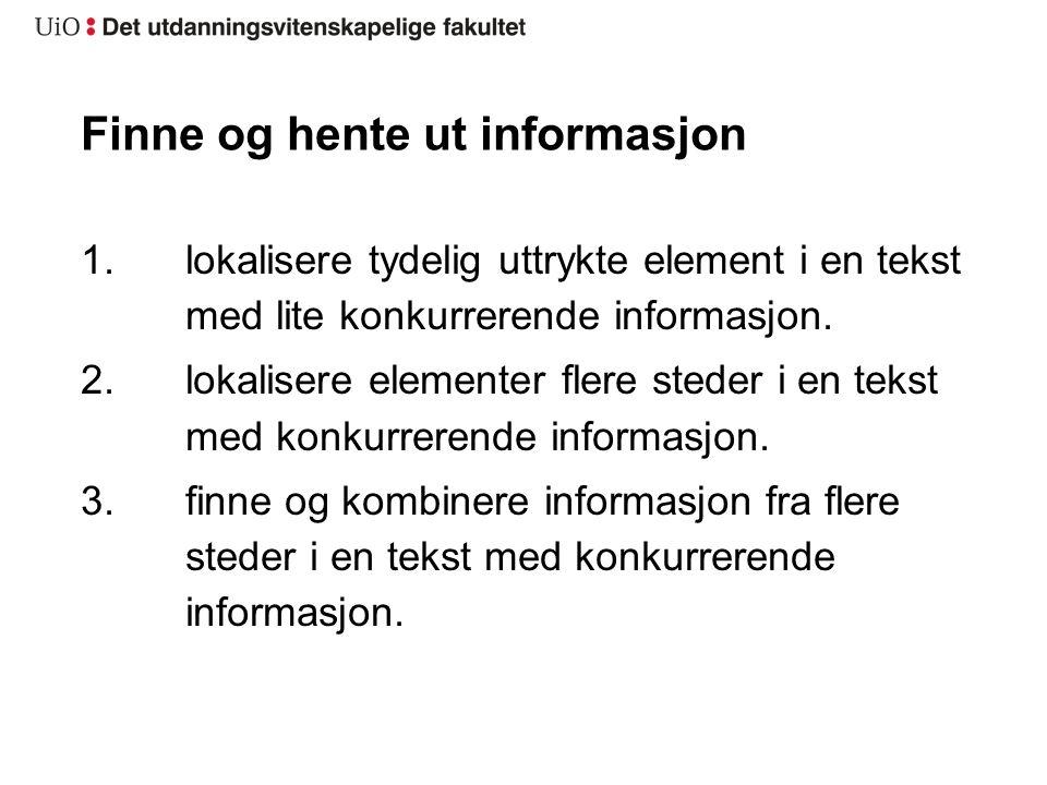 Finne og hente ut informasjon