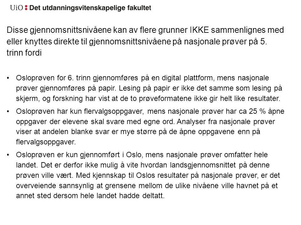 poeng nasjonale prøver norsk 5 trinn 2016