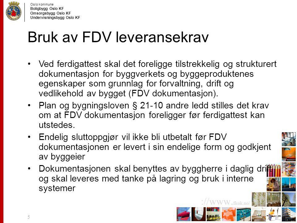 Bruk av FDV leveransekrav