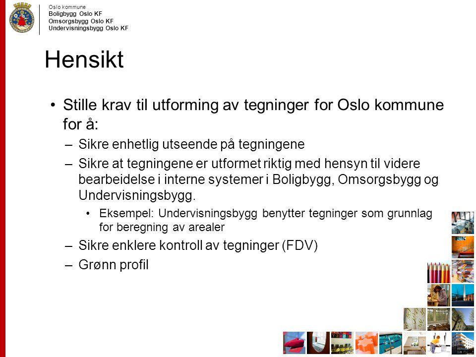 Hensikt Stille krav til utforming av tegninger for Oslo kommune for å: