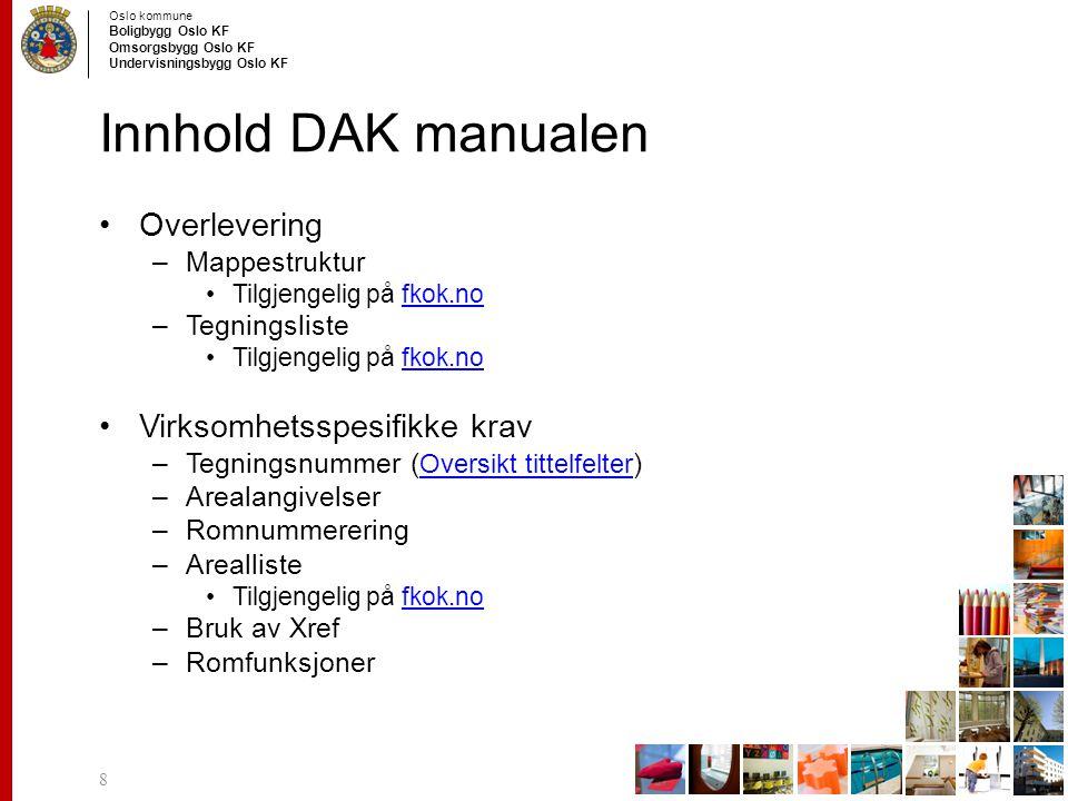 Innhold DAK manualen Overlevering Virksomhetsspesifikke krav