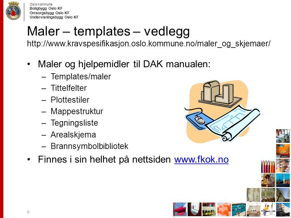 Maler – templates – vedlegg http://www. kravspesifikasjon. oslo