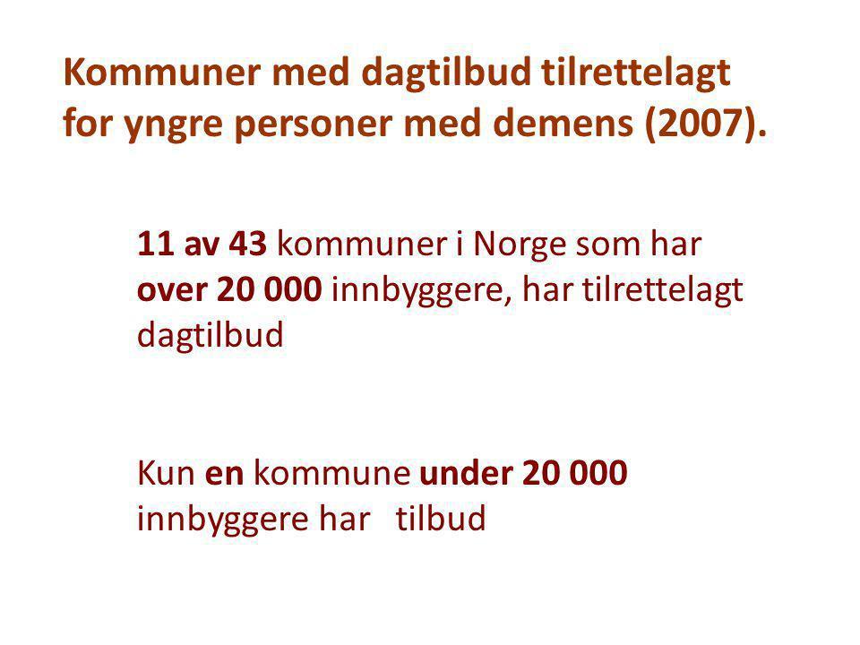 Kommuner med dagtilbud tilrettelagt for yngre personer med demens (2007).
