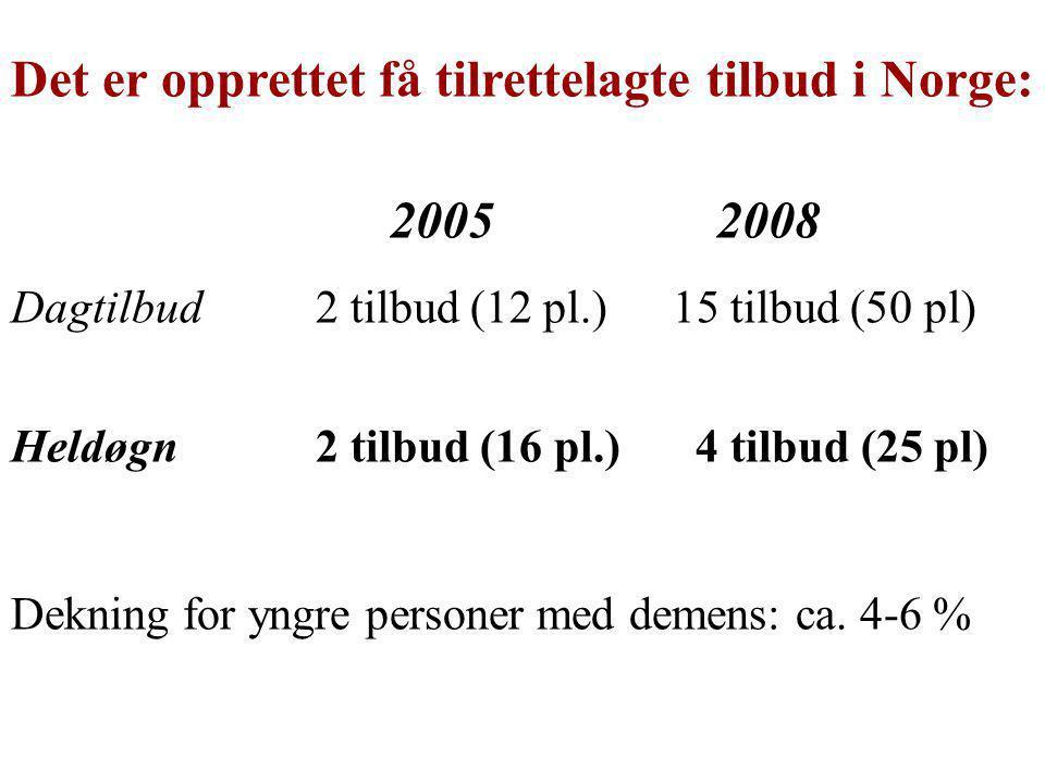 Det er opprettet få tilrettelagte tilbud i Norge: 2005 2008