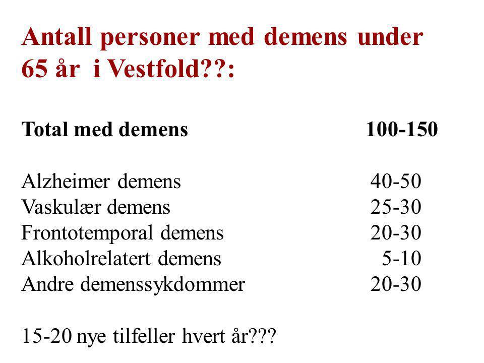Antall personer med demens under 65 år i Vestfold :