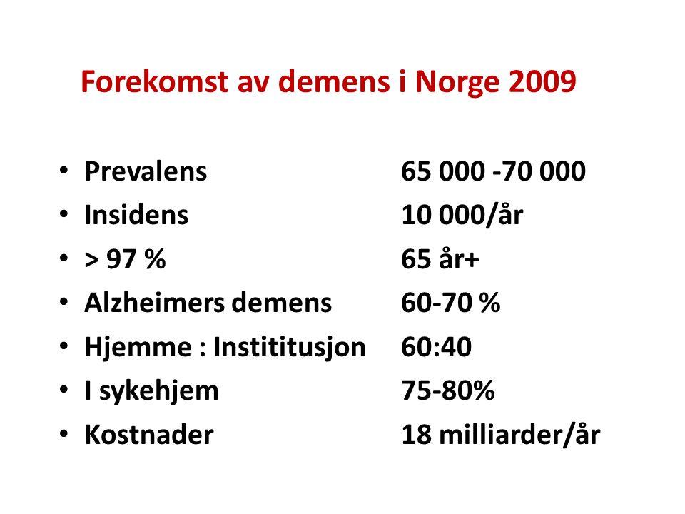 Forekomst av demens i Norge 2009