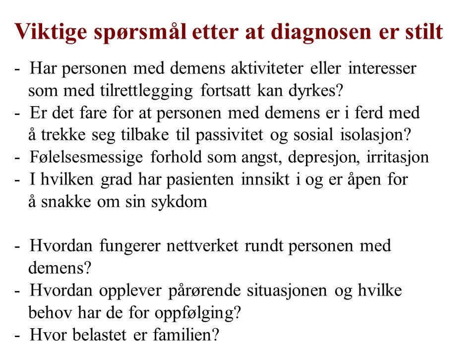 Viktige spørsmål etter at diagnosen er stilt