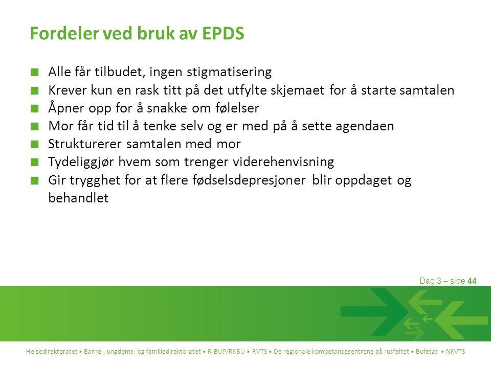 Fordeler ved bruk av EPDS