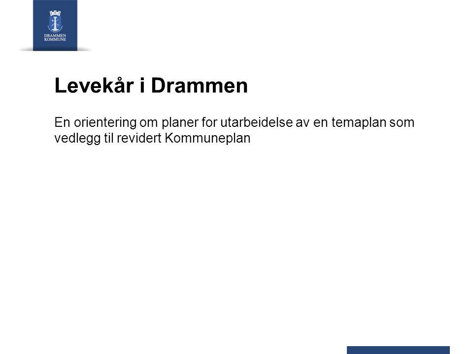 Levekår i Drammen En orientering om planer for utarbeidelse av en temaplan som vedlegg til revidert Kommuneplan.