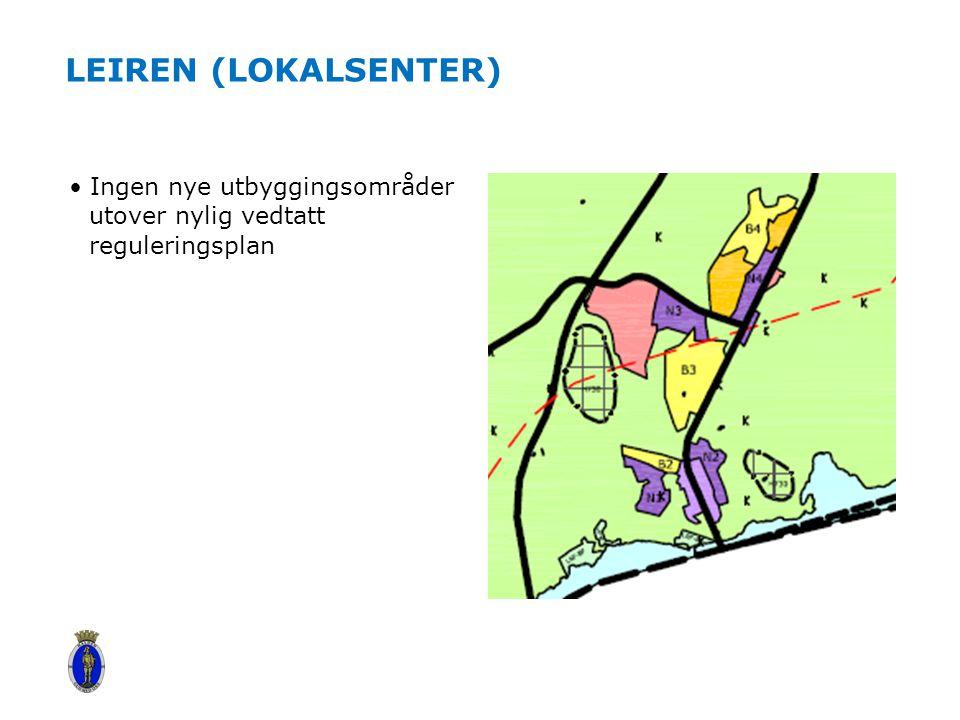 Leiren (lokalsenter) Ingen nye utbyggingsområder utover nylig vedtatt reguleringsplan