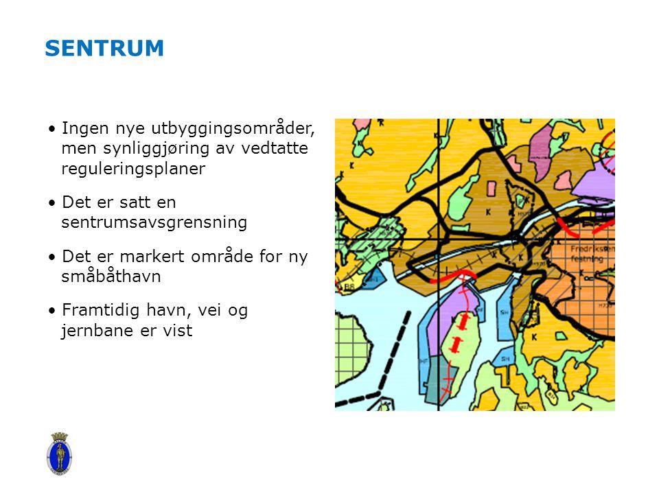 Sentrum Ingen nye utbyggingsområder, men synliggjøring av vedtatte reguleringsplaner. Det er satt en sentrumsavsgrensning.