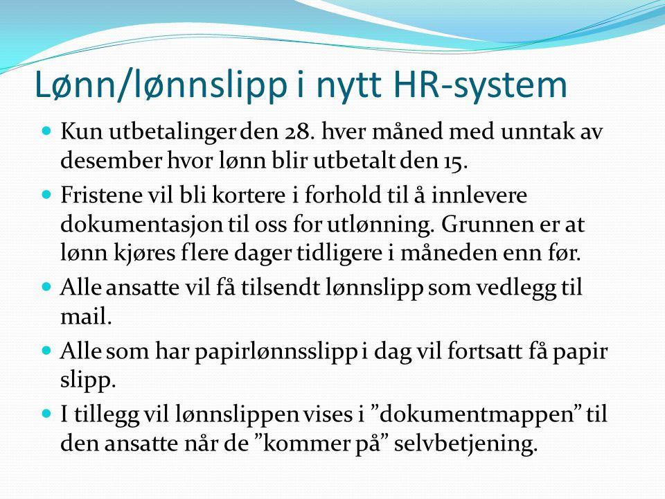 Lønn/lønnslipp i nytt HR-system