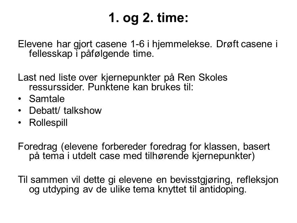 1. og 2. time: Elevene har gjort casene 1-6 i hjemmelekse. Drøft casene i fellesskap i påfølgende time.