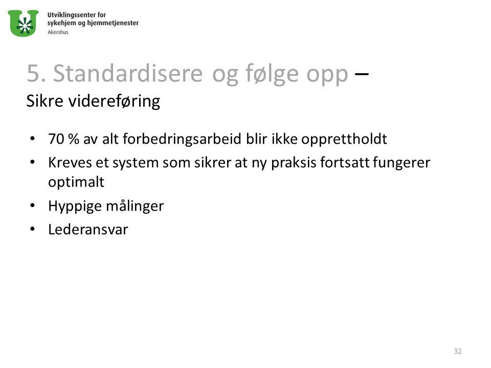 5. Standardisere og følge opp – Sikre videreføring