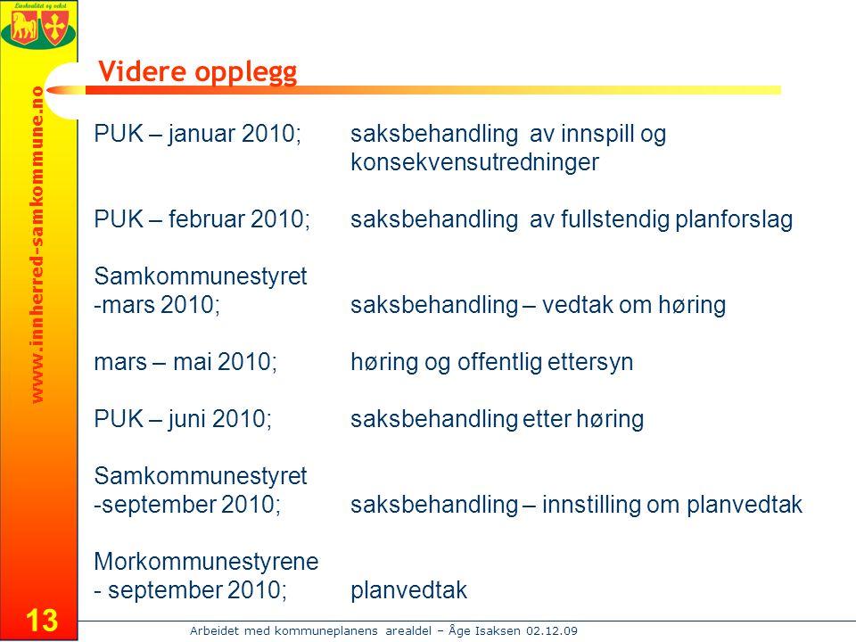 Videre opplegg PUK – januar 2010; saksbehandling av innspill og konsekvensutredninger.