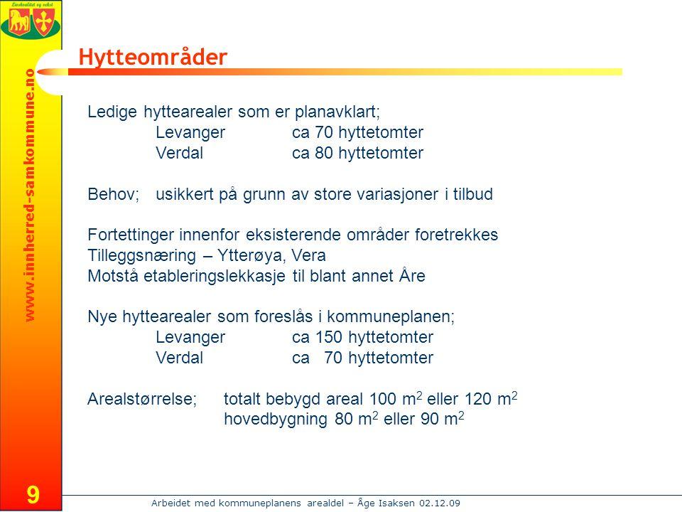 Hytteområder Ledige hyttearealer som er planavklart;