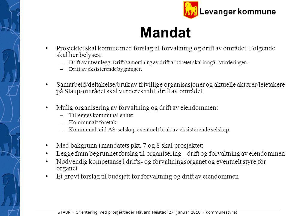 Mandat Prosjektet skal komme med forslag til forvaltning og drift av området. Følgende skal her belyses: