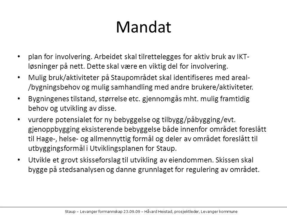 Mandat plan for involvering. Arbeidet skal tilrettelegges for aktiv bruk av IKT-løsninger på nett. Dette skal være en viktig del for involvering.