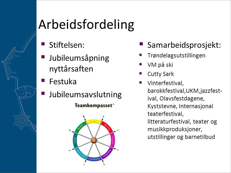 Arbeidsfordeling Stiftelsen: Jubileumsåpning nyttårsaften Festuka