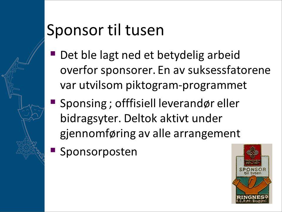 Sponsor til tusen Det ble lagt ned et betydelig arbeid overfor sponsorer. En av suksessfatorene var utvilsom piktogram-programmet.