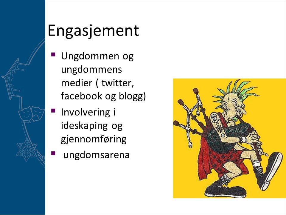 Engasjement Ungdommen og ungdommens medier ( twitter, facebook og blogg) Involvering i ideskaping og gjennomføring.