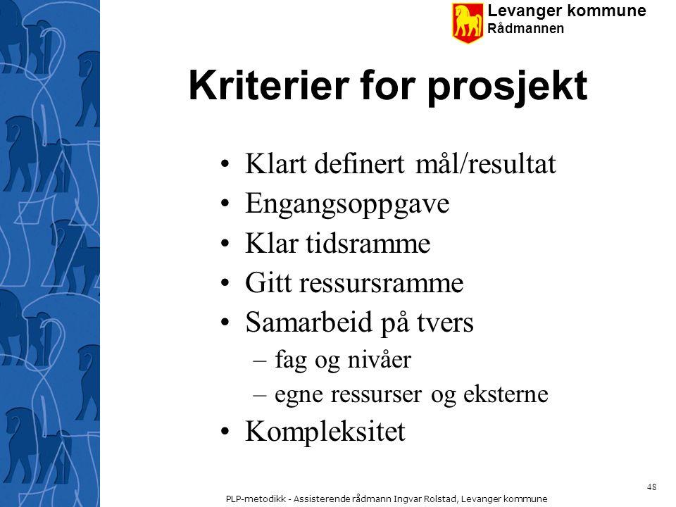 Kriterier for prosjekt