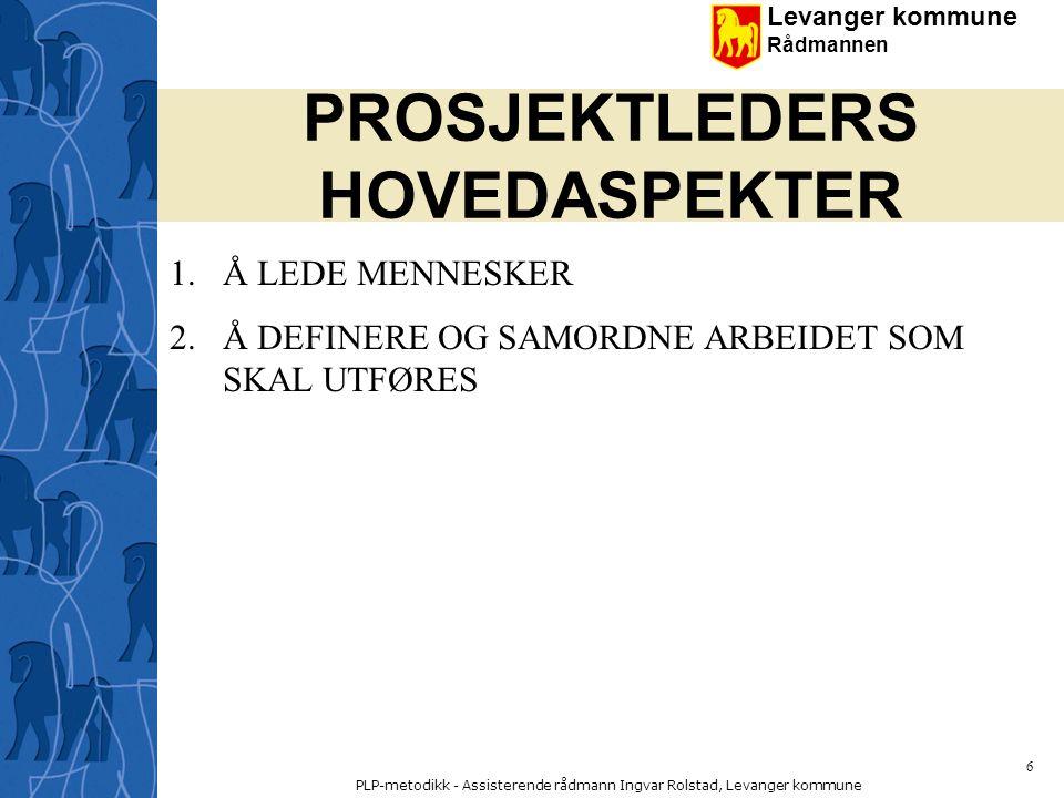 PROSJEKTLEDERS HOVEDASPEKTER