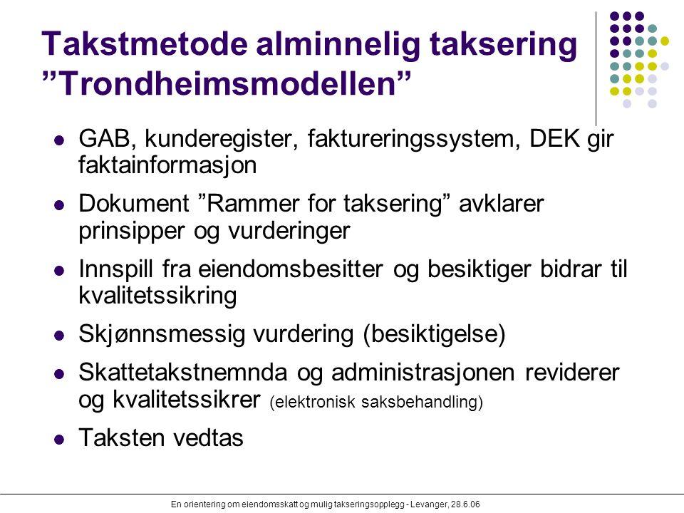 Takstmetode alminnelig taksering Trondheimsmodellen