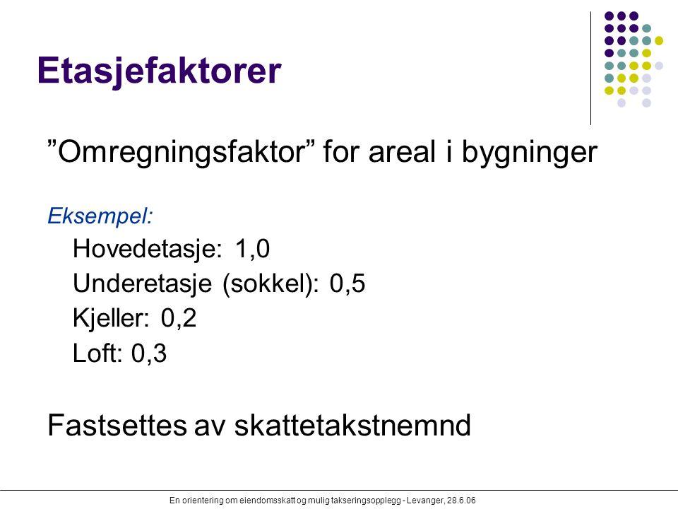 Etasjefaktorer Omregningsfaktor for areal i bygninger